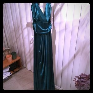 Forest green satin gown